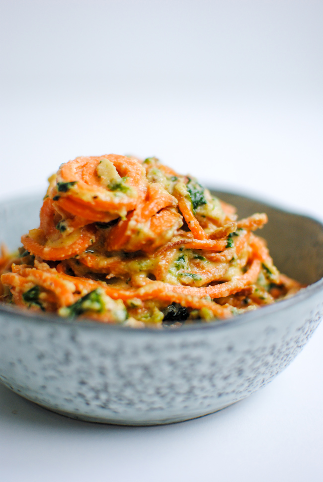 Sweet Potato Noodles with Cashew Creamed Spinach